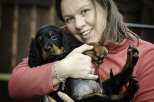 Jane and a Gordon Setter Puppy